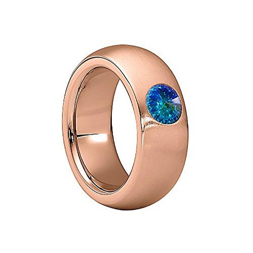 Heideman Ring Damen Coma 8 aus Edelstahl Rosegold farbend matt Damenring für Frauen mit Swarovski Stein Kristall Aurore boreale Opal im Fantasie Edelsteinschliff 6mm