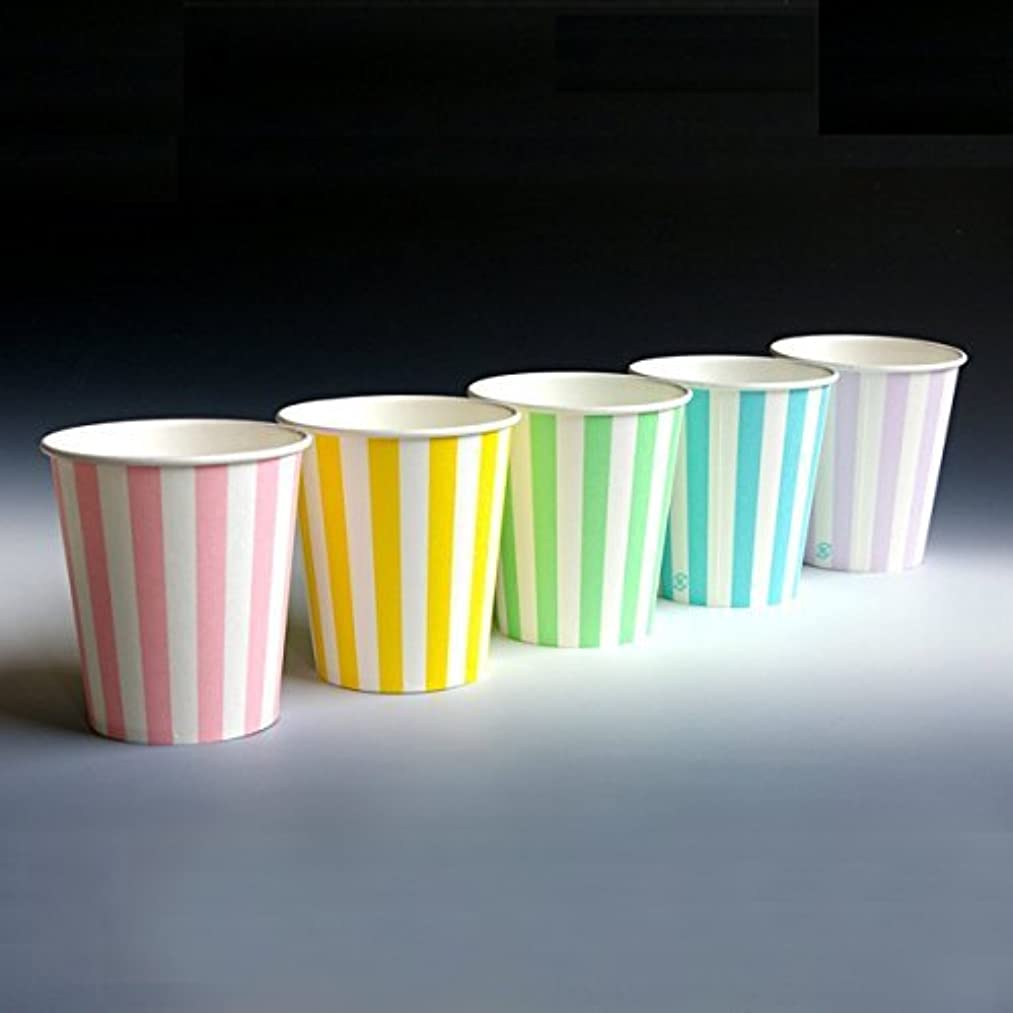 服を洗う誓うコカイン紙コップ 業務用ストライプカップ/5色アソート 205mL 100個 /63-1351-18