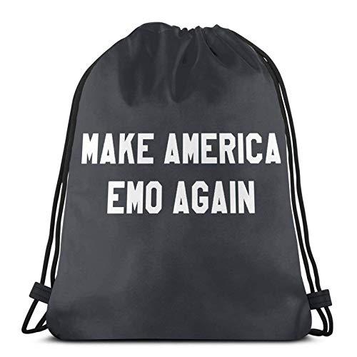 Make America Emo Again Bolsas de cordón ligeras para gimnasio, deporte, bapa para viajes, playa, yoga