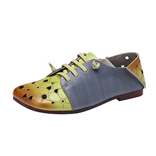Damen Schnürhalbschuhe Schnürung Schuhe Retro Gradient Schnürschuhe Sneaker Frauen sportlicher Schnürer Freizeitschuh(1-Grün/Green,36)