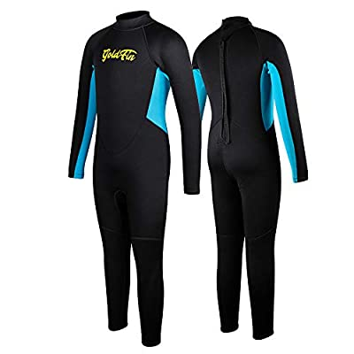 Kids Wetsuits Thermal Swimsuit, 2mm Neoprene Back Zip Keep Warm for Boys Girls Toddler Youth Swimming,Diving,Surfing (Black, 12)