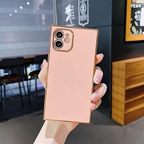 KESHOUJI Funda Suave Cuadrada galvanizada para teléfono para iPhone 11 12 Pro MAX XS X XR MAX 7 8 Plus Mini SE 2020 Funda Trasera de Silicona para Parachoques, Rosa, para iPhone 8