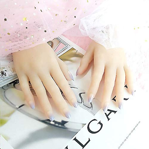 DKHF Valse nagels 24 stuks naakt paars kleurverloop valse nagel met lijm volledige nagel tips kunstmatige vingernagels nep nagel