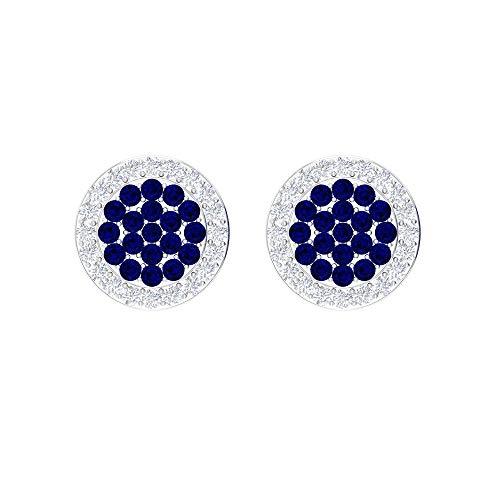 Rosec Jewels- Pendientes de zafiro azul de 0,34 quilates, pendientes de cúmulo de piedras preciosas, pendientes HI-SI 1/4 quilates diamante halo, pendientes de boda (calidad AAA) 14K Oro blanco, Par