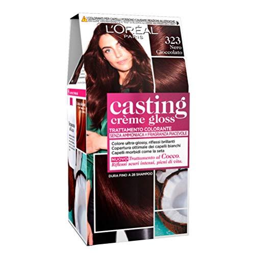 L Oréal Paris Tinta Capelli Casting Creme Gloss, senza Ammoniaca per una Fragranza Piacevole, 323 Nero Cioccolato, Confezione da 1