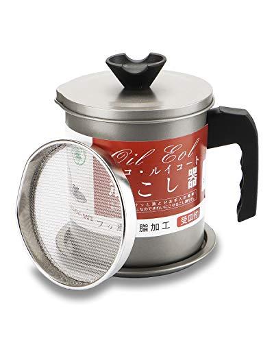 Contenedor de grasa de tocino con colador, lata de aceite de cocina para cocina, colador de aceite de 1,4 l y olla de almacenamiento, para almacenar aceite de freír y grasa de cocina.