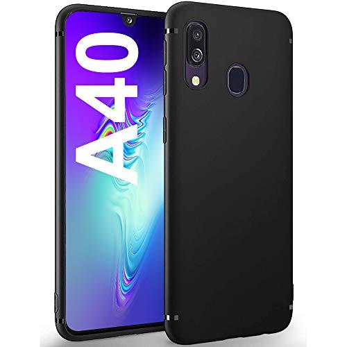 Für Samsung Galaxy A40 Hülle Samsung Galaxy A40 Handyhülle Schwarz Silikon Case Cover Fallschutz rutschfest Mattierte TPU Schutzhülle mit iPhone X/XS - Black