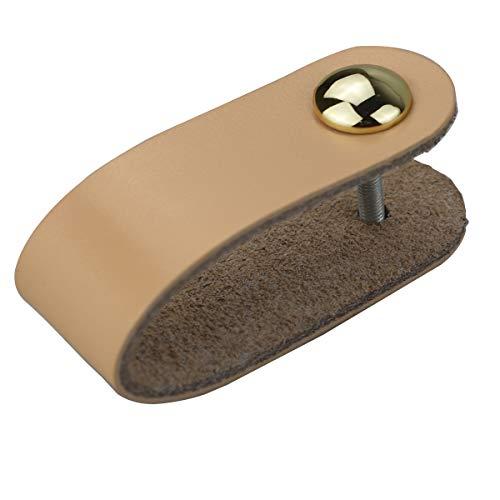 6x Cajones Tiradores de cuero hechos a mano Tirador de gabinete Tiradores Tirador de puerta ajustable Tiradores de cocina Tiradores con tornillos de 22 mm, de un solo orificio-beige