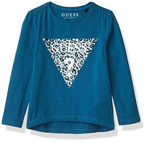 GUESS Girls' Little Long Sleeve Animal Print Triangle Logo T-Shirt, Moroccan Blue, 5