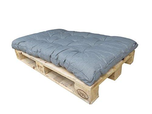 Madison Hochwertiges 10 cm Dickes Paletten Loungekissen 120 x 80 cm Basic Grey, Palettenkissen