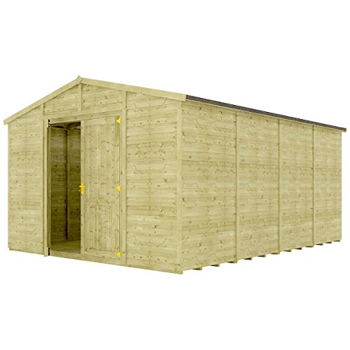 Project Timber 16 x 12 Pressure Treated Windowless Grandmaster Wooden Garden Shed Traditional Apex Gable Double Door 16FT x 12FT
