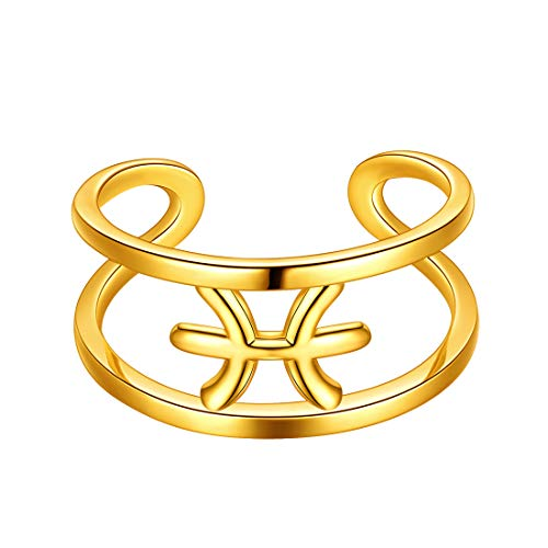 Beautlace Pisces Adjustable Ring Constellation Astrology 18K Gold Plated Opening Statement Horoscope Zodiac Ring for Women Men Teen Girls Jewelry Gift KR0002Y
