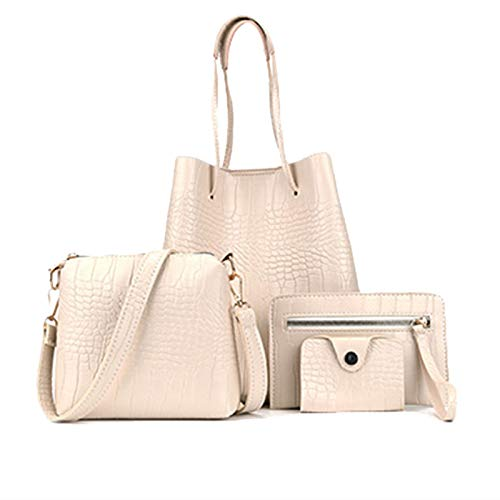 Wusuowei 4Pcs PU Leather Women Handbag Shoulder Bag Tote Card Holder Purse Satchel