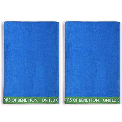 UNITED COLORS OF BENETTON, SET 2 TOALLAS DE PLAYA 90X160CM 380GSM VELOUR 100PercentALGODON AZUL CASA BENETTON, 90x160 c/u