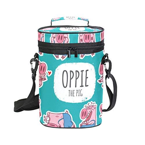 Montoj Weinkühltasche, isoliert, für Reisen, Cartoon-Schweine-Emoticon-Emoji, Wein-Tragetasche