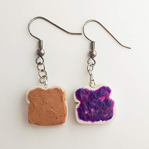 Peanut Butter and Grape Jelly Earrings Faux Food Drink Jewelry Halloween Christmas