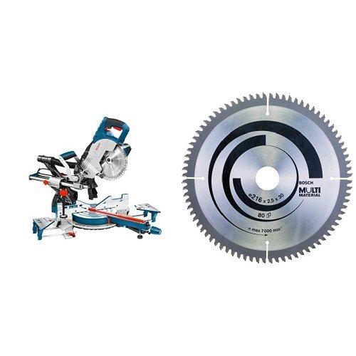 Bosch GCM 8 SJL - Sierra circular (17.3 kg, 46 cm, 91 cm) + Hoja de sierra circular Multi Material - 216 x 30 x 2,5 mm, 80 (pack de 1)
