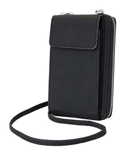 irisaa kleine Damen Umhängetasche Schultertasche - Crossbody Handtasche Geldbörse Handy Mini-Tasche Brieftasche mit Verstellbarem Schultergurt, Neues Modell günstig, Damen Tasche:Black in newlook