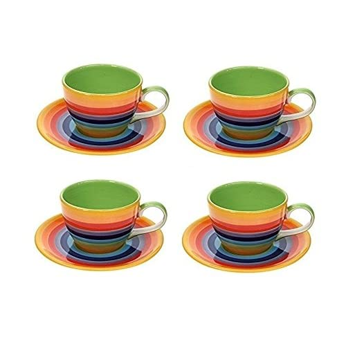 fd5c0ad3c3 Windhorse Set of 4 Rainbow Striped Tea / Coffee Cups & Saucers