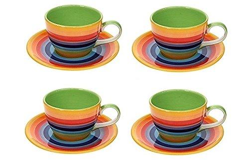 Windhorse-Set di 4 Tazza da tè/caffè, motivo: righe arcobaleno & tazze e piattini