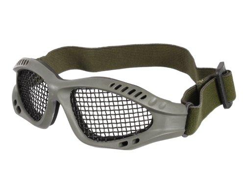 Begadi Gitter - Airsoftbrille / Schutzbrille mit Gittergeflecht, verstellbar & gepolstert - olive
