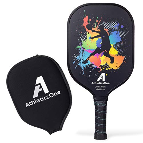 AthleticsOne Pickleball Paddle Graphite Face - 7.8 oz Lightweight Polymer Honeycomb Core - with The Perfect Balance Between Power and Ball Control - Premium Neoprene Cover Included
