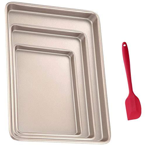 Binchil Baking Sheet Pans Nonstick Set, Cookie Sheet Bakeware Cookie Pan Set, Rectangle Rimmed Carbon Steel Deep Baking Set of 3