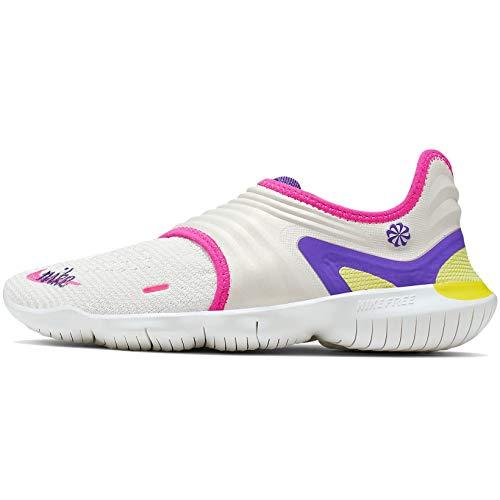 Nike Women's Free RN Flyknit 3.0 Running Shoes (9, White/Purple/Yellow)