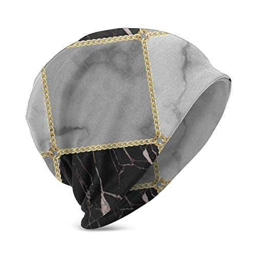 Qinckon Gorro de algodón sin Costuras geométrico de Lujo con Cadena de mármol y Oro para bebé Lindo Gorro Suave para bebé niño/niña