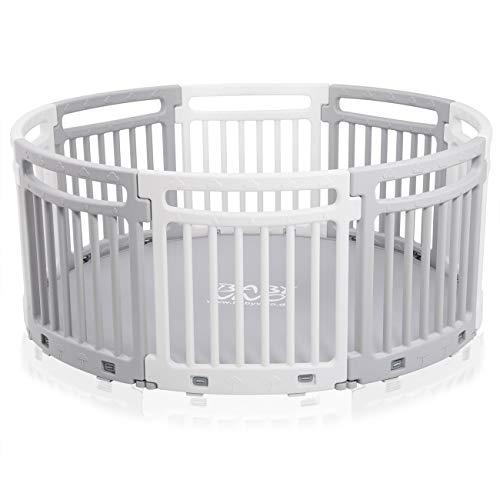 Baby Vivo Laufgitter Laufstall Baby Absperrgitter Rundes Krabbelgitter Schutzgitter für Kinder aus Kunststoff mit Matte 8 Elemente Grau/Weiß - Lucy