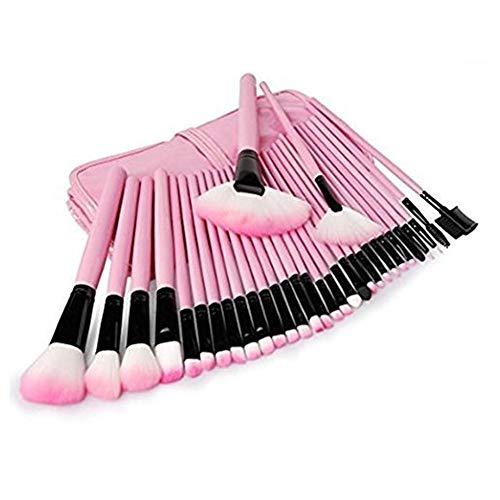 Xiton pinceau de maquillage 32 pièces pinceaux de maquillage Set cosmétiques professionnels Blender Pinceau Teint Poudre Pinceau fard à paupières Make Up Kit outil avec sac organisateur (rose)