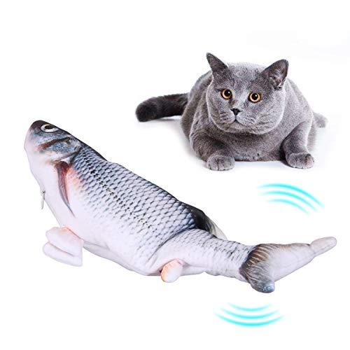 Bilisder Elektrisch Spielzeug Fisch, Elektrische Fische Katze Katzenminzenspielzeug Realistisches Floppen von Fischbewegungskätzchenspielzeug Plüsch Interaktives Katzenspielzeug für Katzenübungen