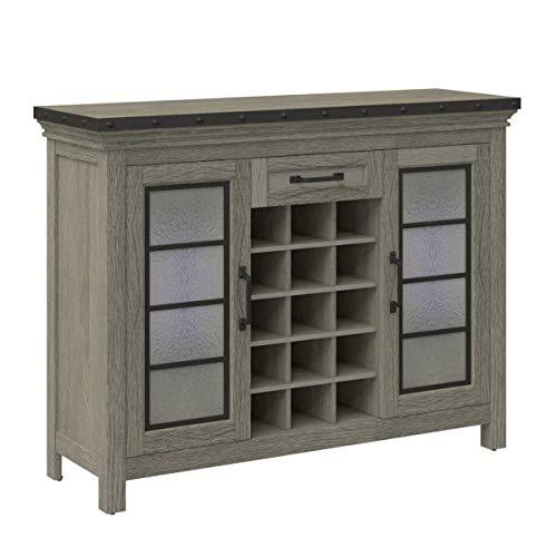 Downtown Loft Bar Cabinet - 15 Bottle Wine Storage - 2 Side Storage Cabinets with Adjustable Shelves