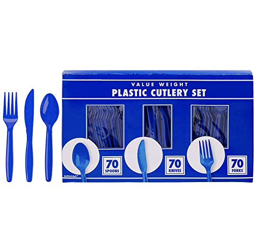 amscan Big Party Pack Window Box Cutlery Set | Bright Royal Blue | 210 ct. | Party Supply