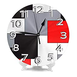 AMZBSR MySty Geometric Grey Black and Red Grid Stripe Wall Clock, Silent Non-Ticking Quality Quartz Battery Operated Wall Clock - 10 Inch Round Easy to Read Decorative for Home Office School