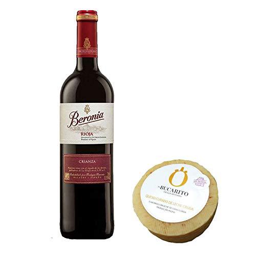 Pack de Vino tinto Beronia Crianza y Queso Curado de Leche Cruda Sin Lactosa - Vino de 75 cl y Queso de 900 g aprox - Mezclanza
