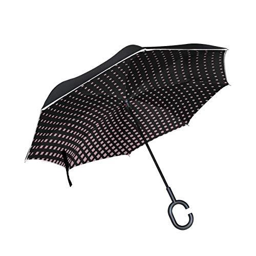 Pixel Semitone Dots Inverted Umbrella Große Doppelschicht Outdoor Regen Sonne Auto Wendeschirm
