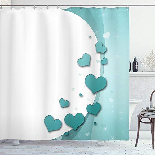 ABAKUHAUS Turquesa Cortina de Baño, Corazones de San Valentín, Material Resistente al Agua Durable Estampa Digital, 175 x 180 cm, Teal Color Blanco Turquesa