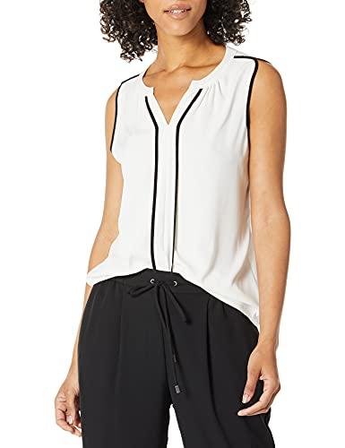 Calvin Klein Women's Top Blouse, Eggshell/Black, S
