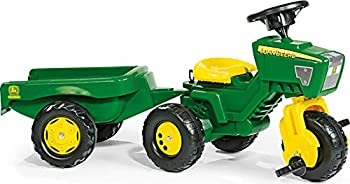 Rolly Toys John Deere 3-Wheel Trac with Trailer Ride On Green/Yellow  52769
