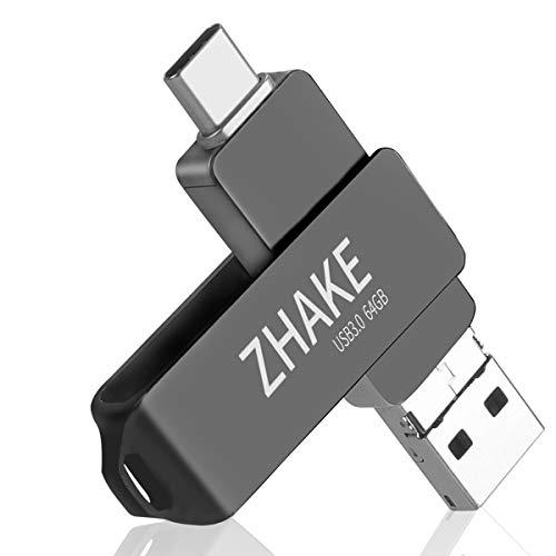 Memoria USB 64GB Tipo C y OTG Pendrive USB 3.0 Impermeable Memoria Flash Drive 3 en 1 para Movíl/PC/Notebook/Smart TV,(Gris)