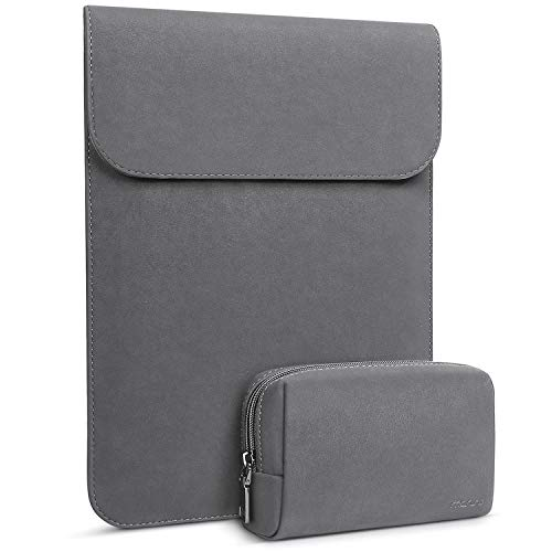 MOSISO Laptop Sleeve Compatible with 2020-2018 MacBook Air 13 A2179 A1932/2020-2016 MacBook Pro 13 A2251/A2289/A2159/A1989/A1706/A1708/Surface Pro, Faux Suede Leather Case with Small Bag,Space Gray