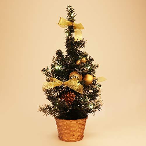 BELLE VOUS Mini Albero Natale LED - Mini Albero di Natale 40 cm con Palline e Pigne - Albero di Natale da Tavolo Innevato - Albero di Natale Piccolo per Casa, Alberi di Natale Piccoli per Decorazioni