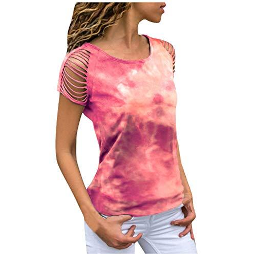 MRULIC Damen Kurzarm T-Shirt Rundhals Ausschnitt Lose Hemd Pullover Sweatshirt Oberteil Tops (EU-42/CN-XL, Rot1)