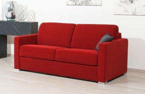 Schlafsofa Nova Al, 143x200cm, zweisitzer mit Schlaffunktion, rot, von Reposa, Top-Qualität made in Germany