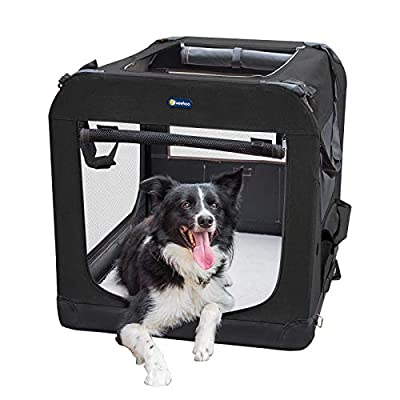 """Veehoo Folding Soft Dog Crate, 3-Door Pet Kennel for Crate-Training Dogs, 5 x Heavy-Weight Mesh Screen, 600D Cationic Oxford Fabric, Indoor & Outdoor Use, 40"""", Black"""
