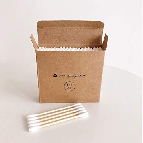 Sans plastique 100 pcs/boîte Double Tête Bambou Coton Bourgeons Adultes Maquillage Coton Écouvillon Bois Bâtons Nez Oreilles Nettoyage Santé
