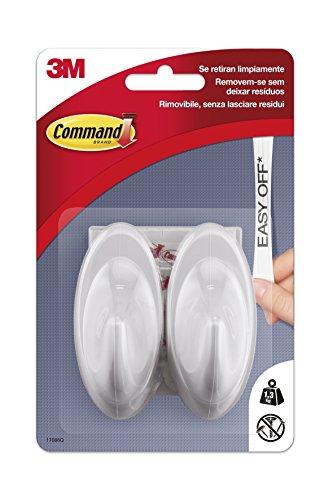 Command UU001563046 Pack de 2 Ganchos medianos, Color Blanco Perla, 2