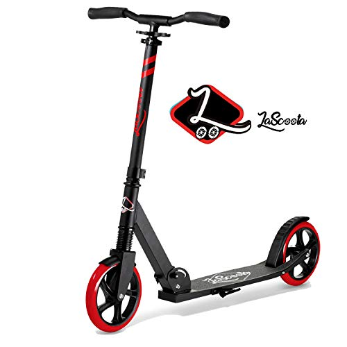 Lascoota Scooters for Kids 8 Years and up - Quick-Release Folding System - Dual Suspension System + Scooter Shoulder Strap 7.9' Big Wheels Great Scooters for Adults and Teens (RED, Kids/Adults)