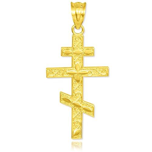 Kleine Schätze - 10 Karat Gold Russische Orthodoxe Kreuz Anhänger